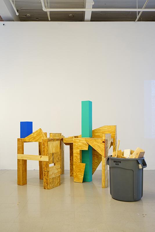Something Revived, 2017, Scrapwood, Polyurethane, Paint, Scrapwood bin, Variable Dimensions