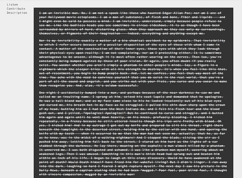 Invisible Library, 2013-Present, Online platform, dimensions variable.
