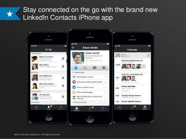 LinkedIn Contacts app