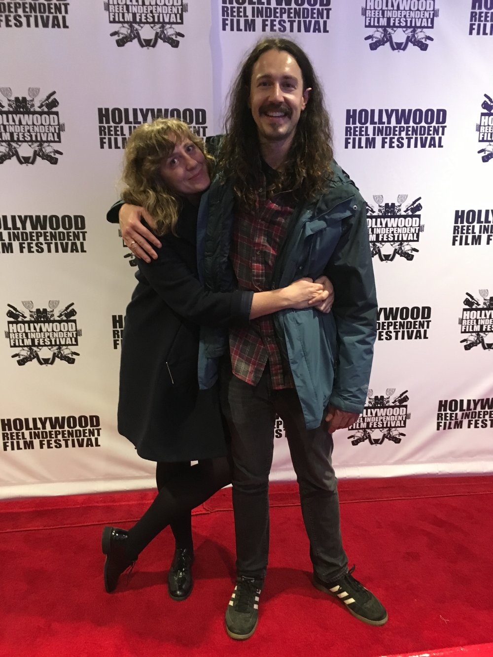 Chippy and Dustin at the Hollywood Reel Independent Film Festival (HRIFF) for Fear, Love, and Agoraphobia.