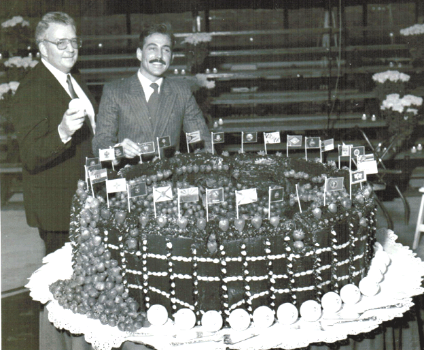 Raymond above, on left with Philadelphia Phillies Baseball Team owner Bill Giles,  and the 600LB French Chocolate Cake with Strawberries he made for the Philadelphia Phillies at Bills' private reception for the team and 1200 guests.  ( photo, Philadelphia Inquirer )
