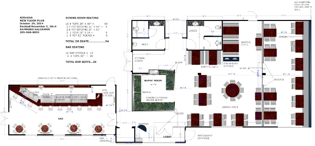 Bar & Restaurant Floor Plan Designed by Raymond Haldeman