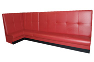 Red Hot Designer Restaurant Booth Red Hot adds WOW-FACTOR! This ultra high back with large tufted square design makes the ultimate statement for your bar or restaurant. Comfortable and dramatic, the red-hot-style delivers! Shown In: Cherry Vinyl Dimensions: L: 48″ X 120″ D: 25″ H: 54″ Available in custom sizes & fabrics.