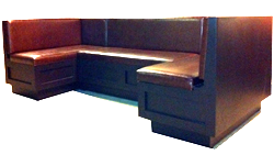 Westin Designer Restaurant Booth This U-shaped designer booth features a flip top seat that allows for storage within the base. Upholstered in faux leather dark brown vinyl and wood finish, it illuminates your dining rooms atmosphere with a deep lustrous & warm glow. Shown In: Lowe Brown Vinyl and Dark Brown Custom Finish Dimensions: L: 46″ x 101″ x 46″ D: 26″ H: 34″ Available in custom sizes & fabrics.