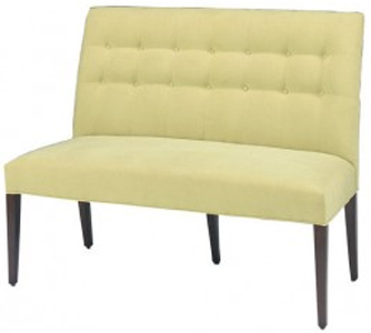 Atlanta Designer Banquette Displayed In:  Cream Fabric Dimensions: W: 50″ D: 26″ H: 40.5″ *See Matching Side Chair   *See Matching Armchair Biscuit tufting accents the contemporary light design of the Atlanta Banquette. Style combines with comfort to make this banquette a favorite in any restaurant's decor including traditional or contemporary.