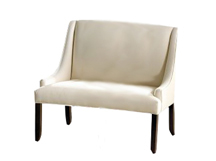 Collin Designer Banquette Displayed In: White Microfiber Dimensions: L: 48″ D: 26″ H: 40″ Available in custom sizes & fabrics.