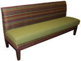 Fiesta Designer Banquette Displayed In: Fiesta Stripe and Olive Fabric Dimensions: W: 72″ D: 26″ H: 36″ Available in custom sizes & fabrics. Fiesta's characteristic bold stripe and festive green seat will brighten any restaurant dining room. A wood sub-base with tapered legs add style.