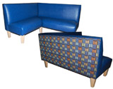 Flipside Designer Banquette Displayed In: Navy Vinyl & Blueberry Pattern Fabric Dimensions: L: 60″ X 60″ D: 25″ H: 36″ Available in custom sizes & fabrics. The Flipside is an L-shape style banquette with a little twist.  If your booth's back is visible, give your customers some fun and style !