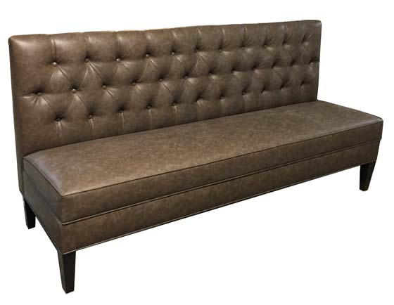 Fuller Banquette Displayed In: Recycled Leather Sonoran Color: Chocolate Dimensions: W: 76″ D: 24″ H: 36″ Available in custom sizes & fabrics. Contemporary and classic at the same time for those seeking eclectic restaurant decor.