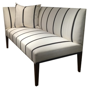 Galette Angle Banquette Dimensions: W: 59″ D: 27.5″ H: 33″, Seat Height: 19″ Available in custom sizes & fabrics. Sleek and decorative for high-end fine dining establishments.