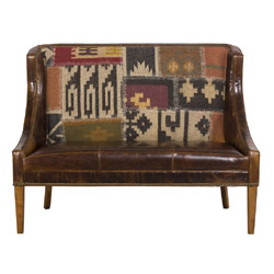 Gunsmoke Designer Banquettes Displayed In:Leather Gunsmoke Bourbon Inside back Fabric: Kilim Rug RVB-139 fabric Dimensions: 40H 52.5W 28D Arm Height: 19 Seat Height: 19.5 As always, custom sizes available.