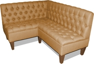 Kelly Designer Banquette Displayed In: Beige Linen Dimensions: L: 53″ X 48″ D: 25″ H: 32″ Available in custom sizes & fabrics. This classic design features sophisticated diamond tufting on the back and seat.  Picture the gracefully-tapered walnut wooden legs andthe plush lines of this masterpiece in your restaurant, bar or nightclub.