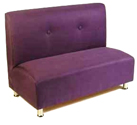 Hampton Designer Banquette Displayed In: Amethyst Microfiber Dimensions: L: 48″ D: 25″ H: 36″ Available in custom sizes & fabrics. This banquette in your restaurant is the height of subdued sophistication. The subtle 2-button tuft on the back creates a look of style that is enduring & contemporary.