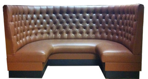 Maestro Designer Banquette Displayed In: Saddle vinyl Dimensions: W: 4′x 7′x 4′ D: 26″ H: 48″ Available in custom sizes & fabrics. The Maestro Designer Booth is perfect for private and intimate restaurant dining. The deep diamond-tufting on the back-seat is rich and luxurious look.
