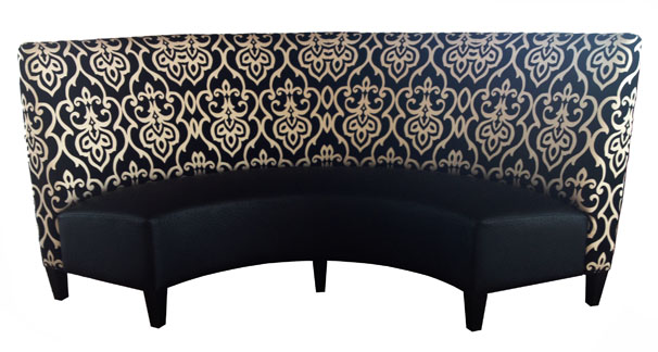 "Margo Designer Banquette Displayed In: This color With this style Dimensions: W: 42″-66″"" (customizable) D: 29″ H: 40″ Available in custom sizes & fabrics. This dramatically and stunning designer banquette will attract the attention of your restaurant customers when they see this imposing high circular back.  the secret to getting the most out of this piece is in the fabric selection!"