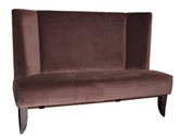 Modern Wing Designer Banquette Displayed In: Chocolate Brown Velvet Dimensions: L: 48″ D: 26″ H: 36″ Available in custom sizes & fabrics.   This Designer Wing banquette is a modern version of a classic design. The sophistication of  wings on either side add a contemporary dimension to this design and the elegantly curved wooden legs add sleek lines.
