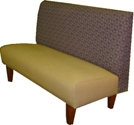 Sophisticate Custom Banquette Shown In: Green Vinyl & Patterned Fabric Dimensions: L: 48″ D: 26″ H: 36″ Available in custom sizes & fabrics. This custom banquette will make sophisticated statement in your restaurant with its strong tapered wood legs and strong design.