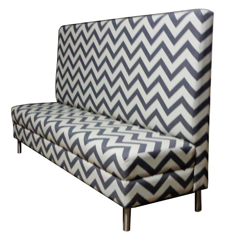 Zig Zag Designer Banquette As Displayed: Zig Zag Styling Metal Legs Dimensions: W:P (customizable) D: 27″ H: 60″ Available in custom sizes & fabrics. This designer banquette with an impressive and high straight back accentuate its modern design and can be a centerpiece in any restaurants dinning room.