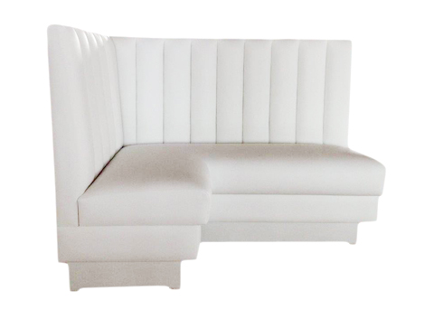 White Vertical Designer Banquette As Dis: White Vertical Styling Dimensions: W: 46″ x 60″ (customizable) D: 24″ H: 42″ Available in custom sizes & fabric. The white plush vertical channel design of this beautiful piece is upholstered in stain-resistant faux-leather upholstery which makes it easy to keep it looking pristine.