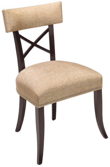 Displayed Above In: Java Wood Finish  Optional: Small Polished nickel nailhead trim   Dimensions:   W: 22″  D: 24″  H: 36″  *Available in Barstool *Availabe in Armchair