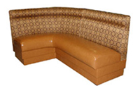 Squire Designer Restaurant Booth Squire combines the comfort and modern styling of traditional restaurant booths. An upholstered neck roll adds extra comfort to the booth. Hundreds of fabric/vinyl/leather combos so you can customize to your bar or restaurant. Shown In: Patterned Fabric & Butterscotch Vinyl Dimensions: L: 70″ X 48″ D: 26″ H: 42″ Available in custom sizes & fabrics.