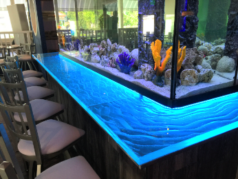 Restaurant Designer LED Water Glass Fish Tank