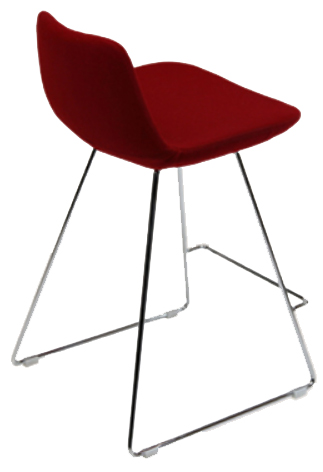 Displayed Above Available in multiple fabrics & base finishes   Dimensions:   W: 23.5″  D: 22″  Bar H: 36.5″, Seat Height: 29″