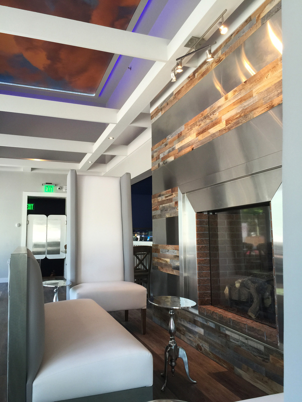 Restaurant Designer's SS & Reclaimed Wood Fireplace