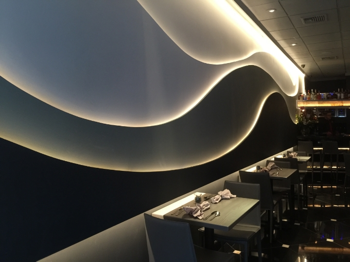"""AFTER"" This LED wave wall was the centerpiece of the space noe, ""7T8"" and provided the wow-factor for this restaurant design by Raymond Haldeman."
