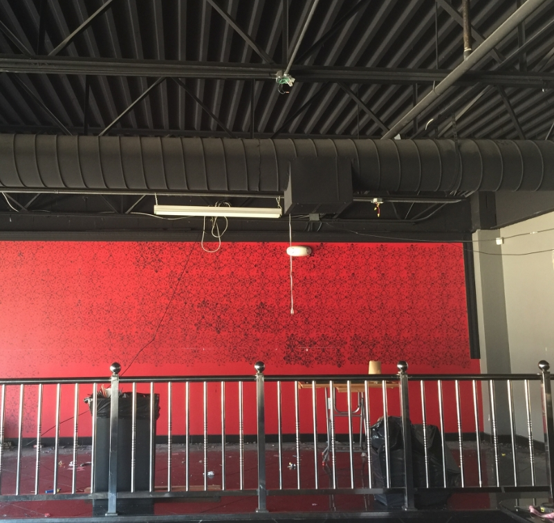"""""""Before"""" The raw warehouse looking space was in obvious need of a cosmetic upgrade &lighting treatment"""