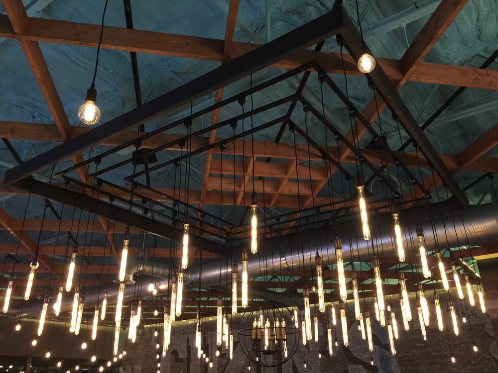 12' x 12' Custom Built Floating Filament Tube Bulb Chandelier over Pinwheel Banquette