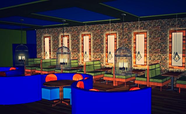 Restaurant Design 3D Rendering, Fulton St, NYC