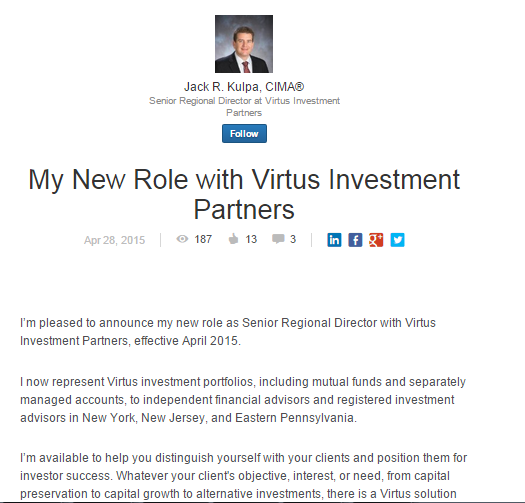 Virtus Wholesaler LinkedIn Post