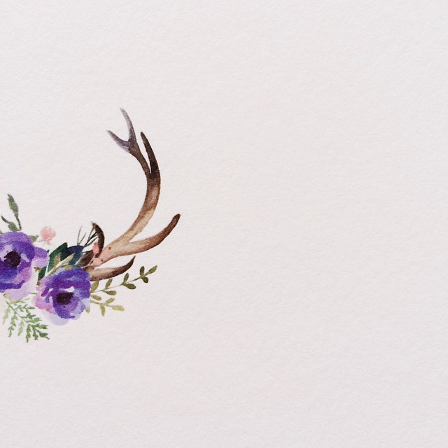 This pretty watercolor image is about to get some letterpress!  #sneakpeek #weddinginvitation #watercolor #letterpress #montana #montanawedding #elk #antlers #wildflowers