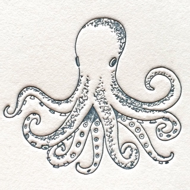 Is it just me, or does it feel like an octopus kind of day?  #letterpress #card #penandink #octopus #art #releasethekraken
