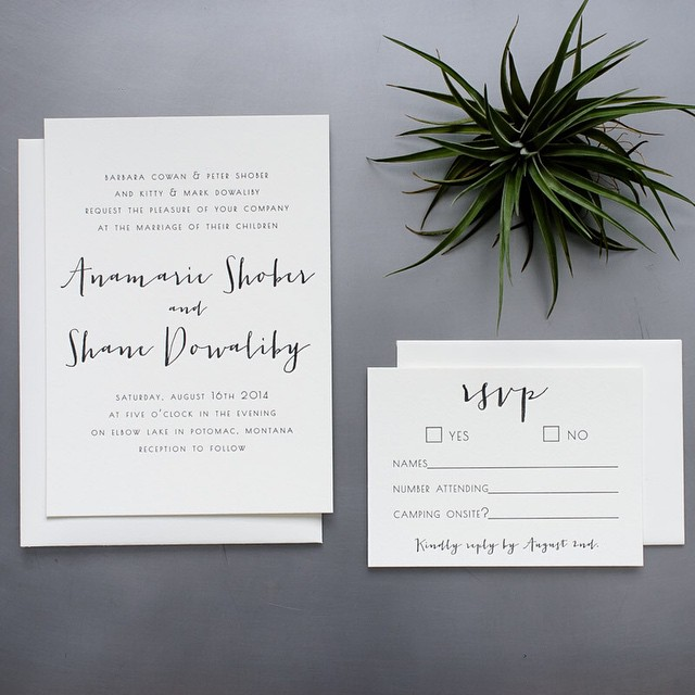 Annamarie & Shane's letterpress invitations. It was designed by Ana herself, a woman after my own heart, who appreciates clean lines and letting the beautiful cotton paper breathe :) Their wedding is featured in the new issue of Rocky Mountain Bride Montana. Go check it out! @rockymtnbride @anacs88 @shanedowaliby #letterpress #invitation #montana #montanawedding