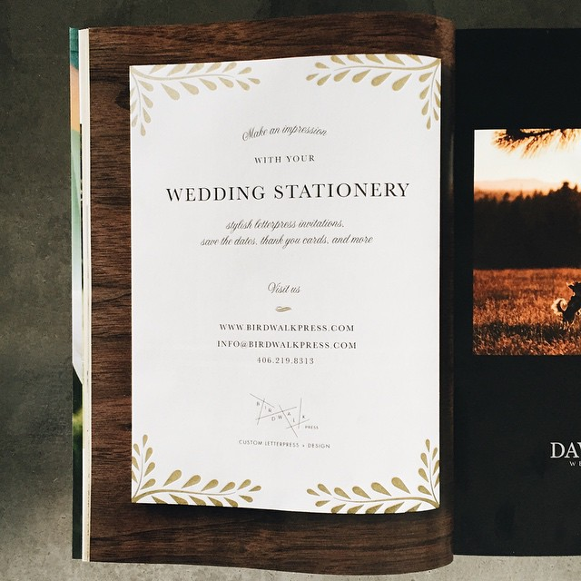 We're so excited to see the new issue of  #montanabride!  Especially page 16 :)  #letterpress #montanawedding #montana #wedding #invitation #stationery @katalingreen