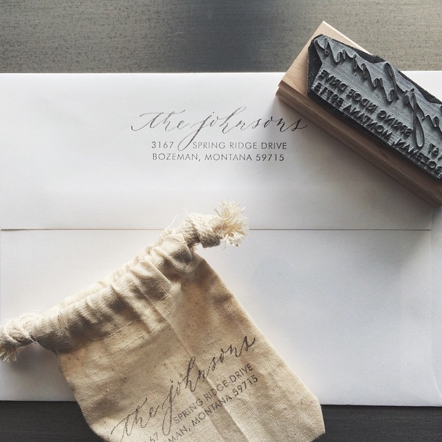 Such a sweet gift from @castcalligraphy! Already being put to good use.  #calligraphy #returnaddress #stamp #holiday #gift
