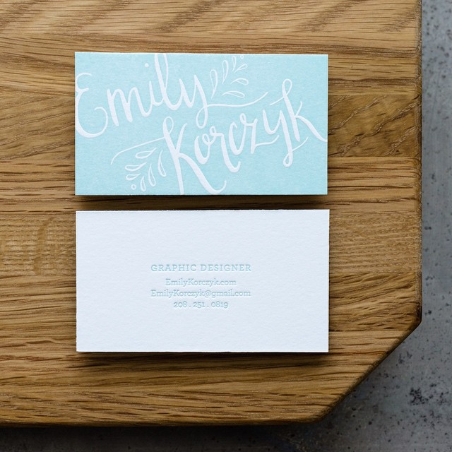 Excited to share a recent business card we printed for the talented graphic designer Emily Korczyk. Love her #handlettering! More photos on our blog.