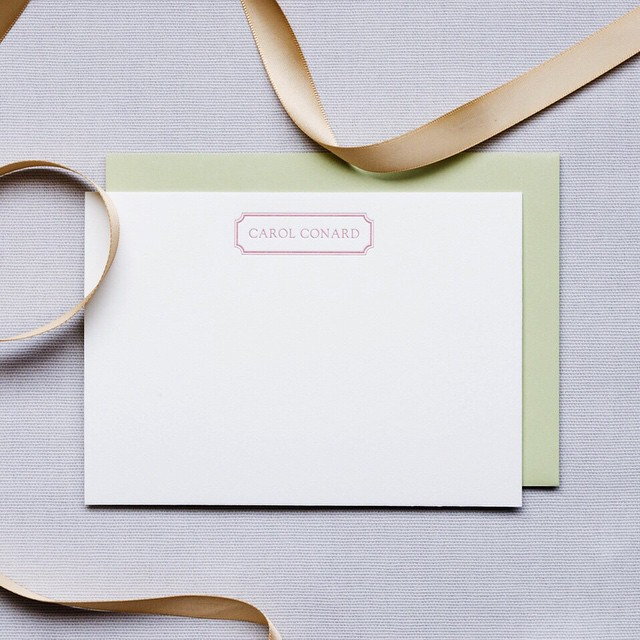 Some lovely customized stationery to start the year off right! #envelope in #sage by @papersource  #custom #personal #stationery #letter #letterpress #cotton #paper