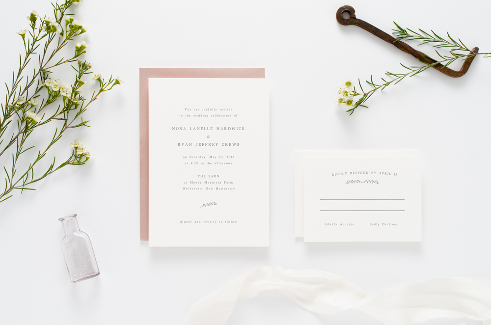 Sweet, simple, and understated letterpress wedding invitation