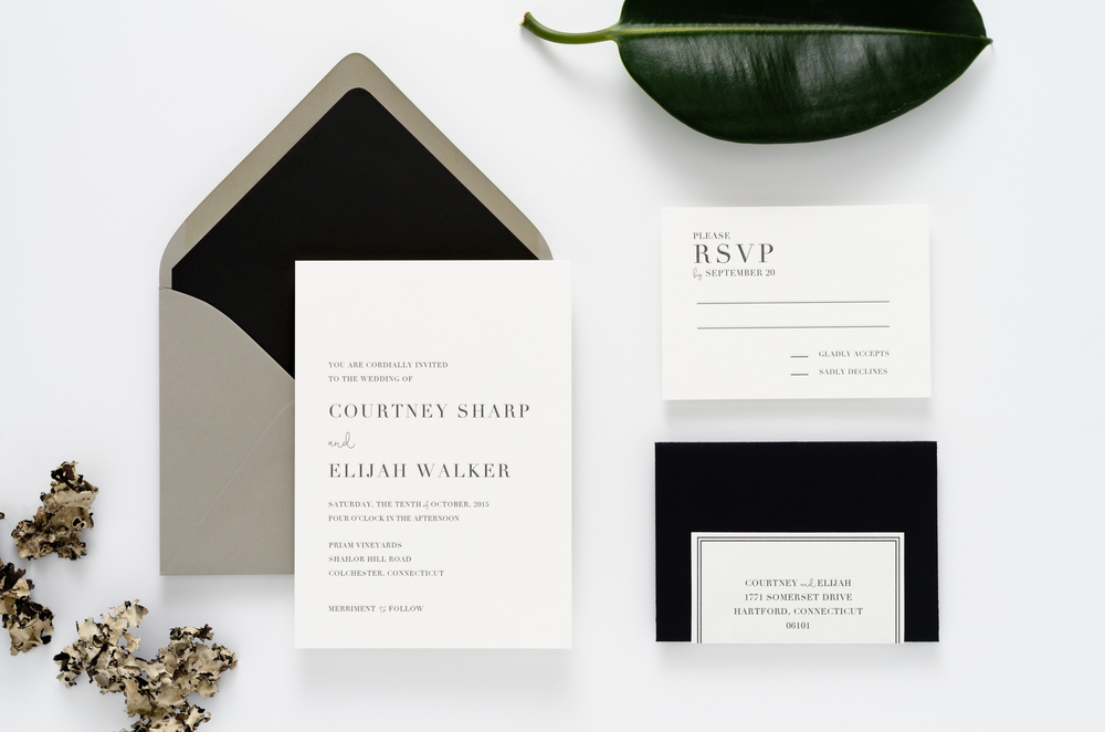 Bold, crisp, and modern letterpress wedding invitation