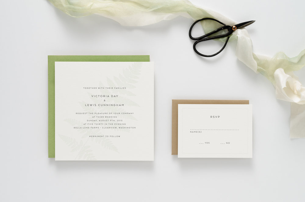 Natural, botanical, fern themed letterpress wedding invitation