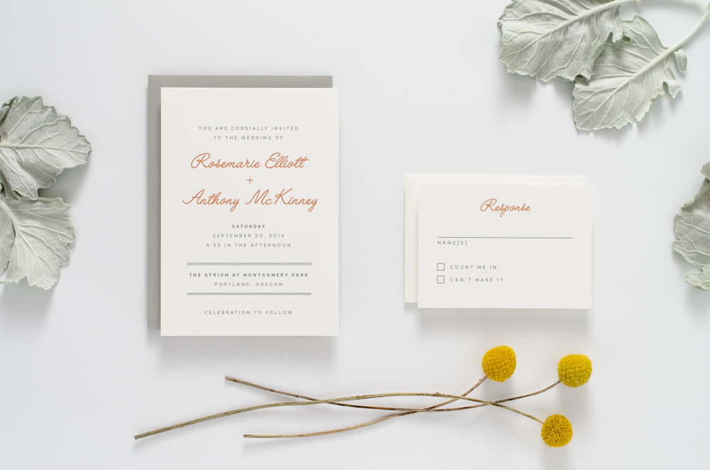 Fun, creative, modern yet retro letterpress wedding invitation suite