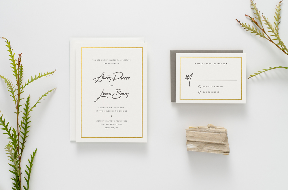 Fresh, modern, funky brush-script wedding invitation suite printed with gold foil and letterpress