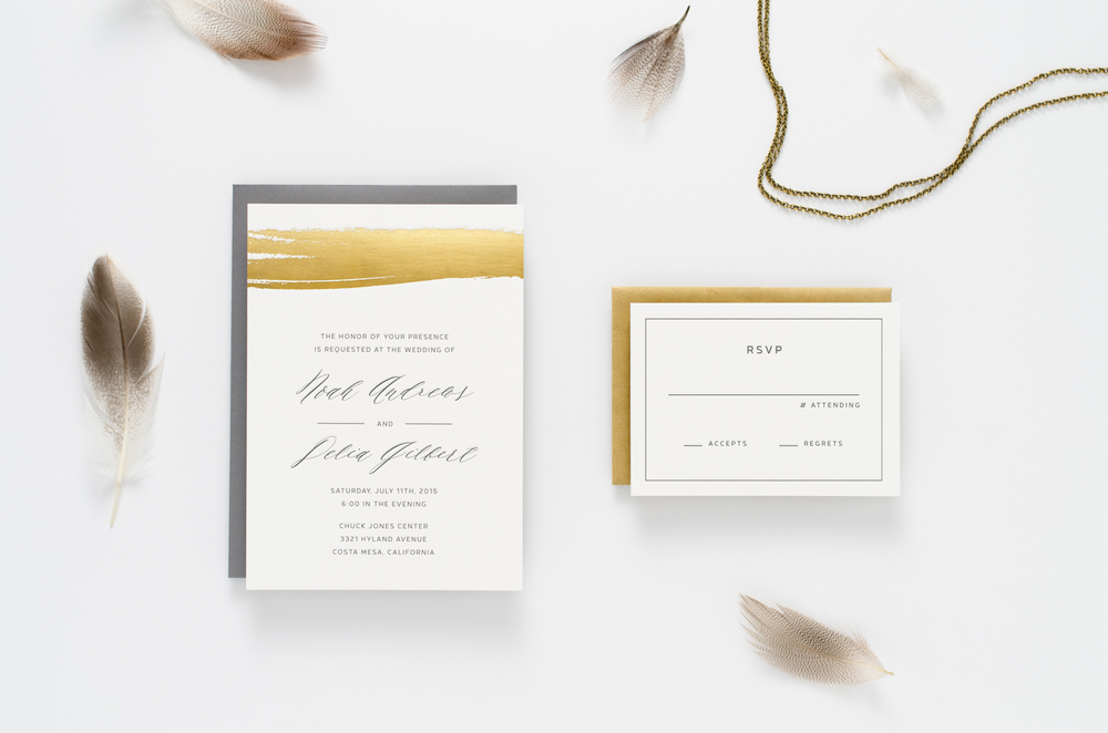 Fun, fresh, modern, unique letterpress wedding invitation suite with flowy calligraphy and gold foil