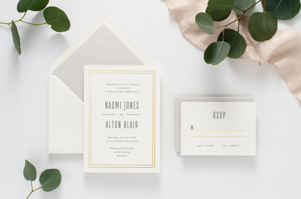 Simple, masculine, modern letterpress wedding invitation suite with gold foil details