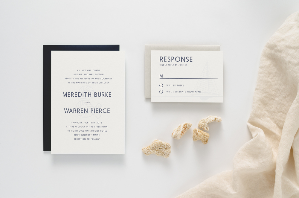 Relaxed, modern, nautical themed letterpress wedding invitation suite
