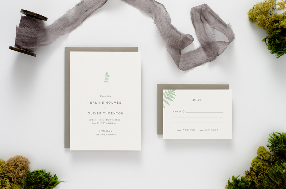 Fresh, modern, botanical themed letterpress wedding invitation with sword ferns