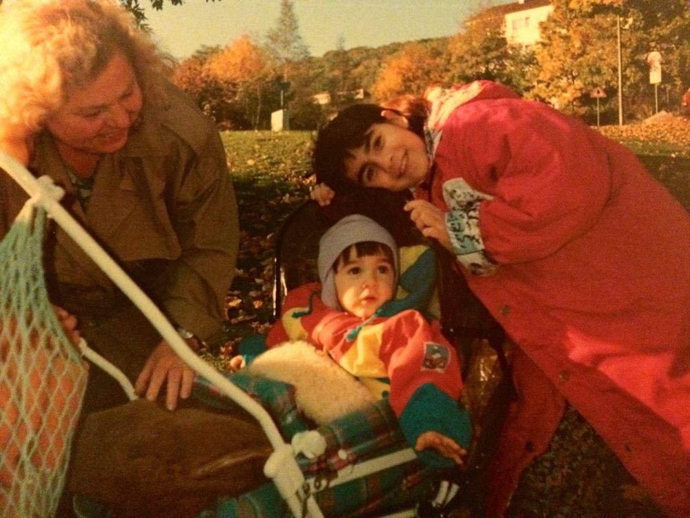 My Omi, sister, and I in Oberkochen, Germany, 1991-92